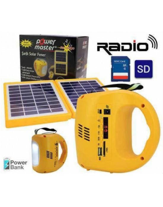Power Master Çift Panelli Sarı Solar (Solar Speaker)