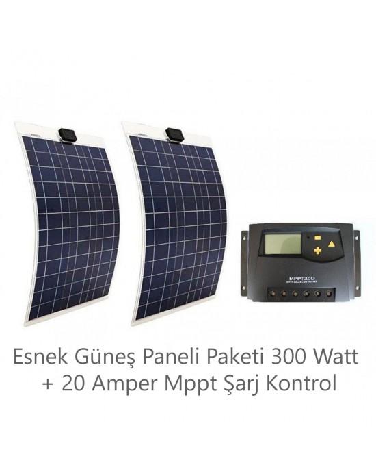 ESNEK GÜNEŞ PANELİ PAKETİ 300 WATT + 20 AMPER MPPT ŞARJ KONTROL